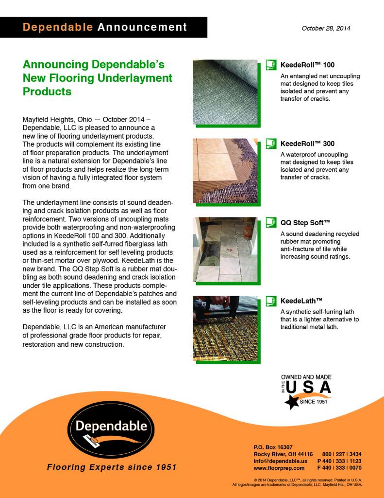 Dependable New Underlayment Line Announcement October 28 2014 Flier