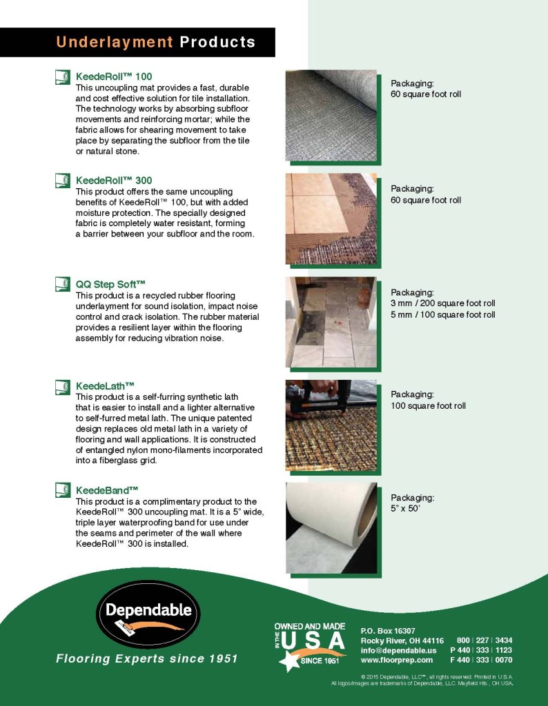 Dependable Underlayment Product Brochure 2